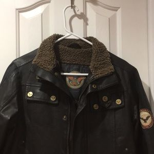 Boys dark brown faux Leather Jacket -very cool!!